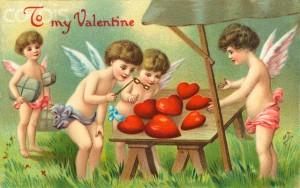 Старая почтовая карточка: Happy Valentine's Day!