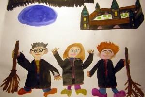 Гарри Поттер и его друзья. Виссарион Шпанский. бумага, акварель