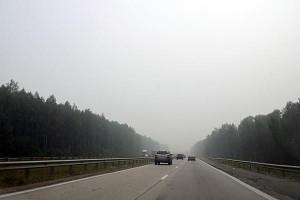 Симферопольское шоссе в районе Тулы. Дым. 01.08.2010 года.