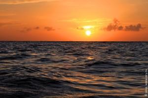 Атлантический океан. Закат солнца.
