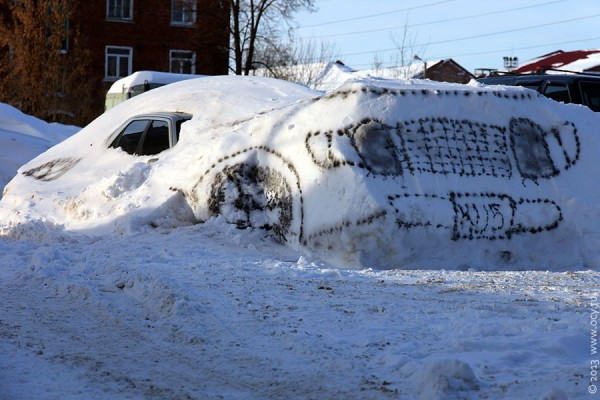 Пежо-406 под снегом, но уже как бы и Бьюик.